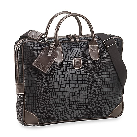 Bric's Nuovo Slim Attache in Black Croc