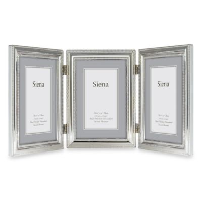 Siena Silver Pearl Beaded 4-Inch x 6-Inch 3-Opening Frame