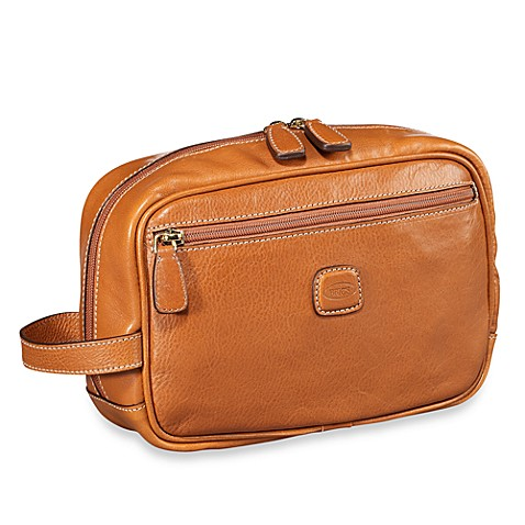 Bric's Pelle Traditional Shave Case in Cognac
