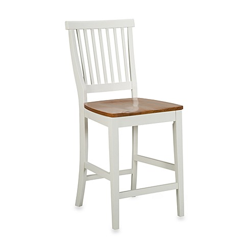 Home Styles 24-Inch White & Distressed Oak Barstool
