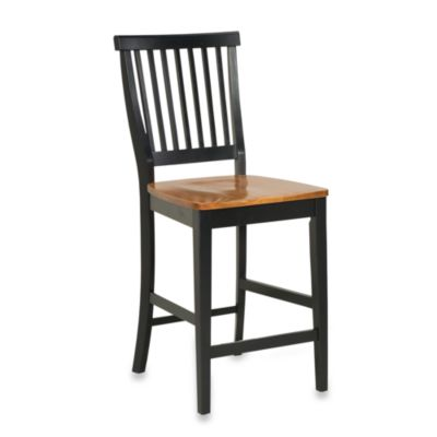 Home Styles 24-Inch Black & Distressed Oak Barstool
