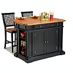 Home Styles Deluxe Traditions Island & 2 Bar Stools