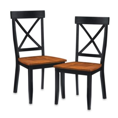 Home Styles Dining Chair in Black with Oak Finish (Set of 2)
