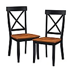 Home Styles Dining Chair in Black w/Oak Finish (Set of 2)