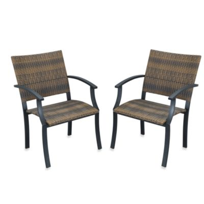 Home Styles Newport Synthetic-Weave Arm Chair (Set of 2)