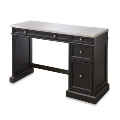 Home Styles Traditions Black Utility Desk w/Stainless Steel Top