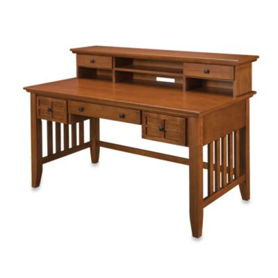 Home Styles Arts & Crafts Cottage Oak Executive Desk w/Hutch