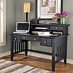 Home Styles Arts & Crafts Black Executive Desk w/Hutch