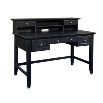 Home Styles Bedford Executive Desk and Hutch in Black
