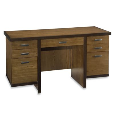 Home Styles Geo Walnut Pedestal Desk