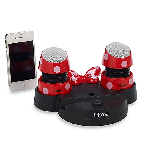 iHome® Disney Loves Portable Rechargeable Speakers with Base in Minnie Mouse