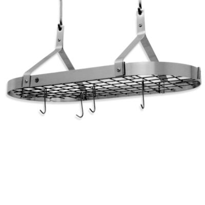 Enclume® Premier Collection Contemporary Stainless Steel Oval Pot Rack with Grid