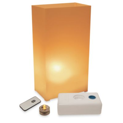 Remote Control 10-Count LED Luminaria Kit in Tan
