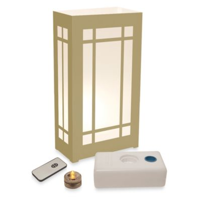 Remote Control 10-Count LED Lantern Luminaria Kit in Gold