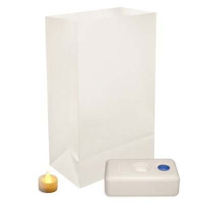 Battery-Operated Traditional White LED 12-Count Luminaria Kit