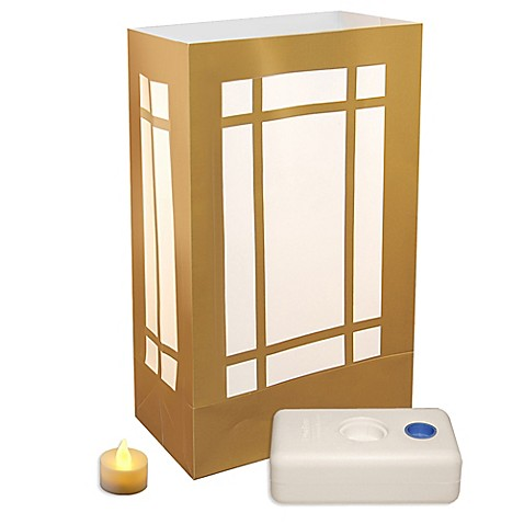 Battery Operated Gold Lantern LED 12-Count Luminaria Kit