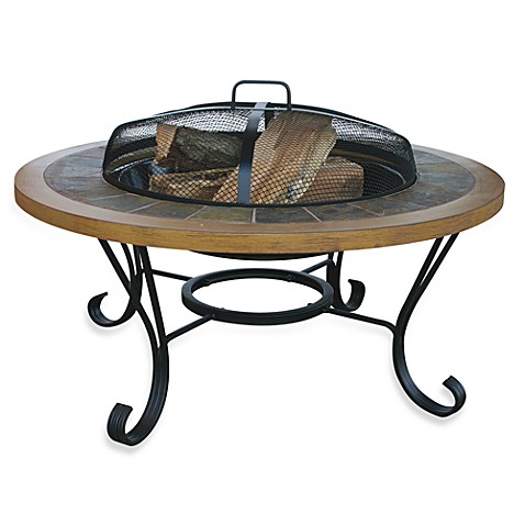 UniFlame® Slate/Faux Wood Fire Pit with insert Cover by Blue Rhino