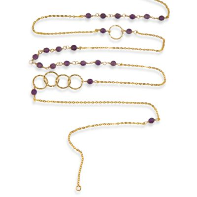 Charlene K 14 Karat Gold Vermeil Amethyst Mini Gemstones 41-Inch Necklace