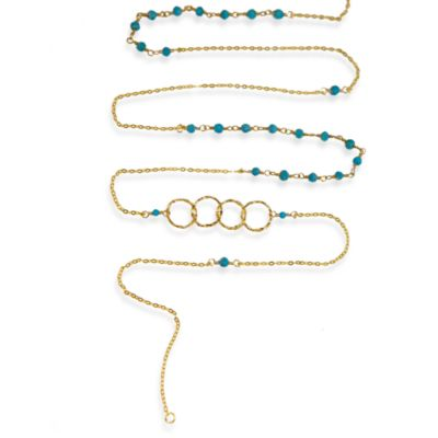 Charlene K 14 Karat Gold Vermeil Turquoise Mini Gemstones 41-Inch Necklace
