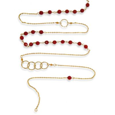 Charlene K 14 Karat Gold Vermeil Coral Mini Gemstones 41-Inch Necklace