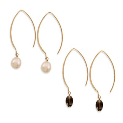 Charlene K 14K Gold Vermeil Oval Hook Gemstone Earrings