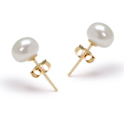 14K Gold, Freshwater White Button Pearl Earring Set