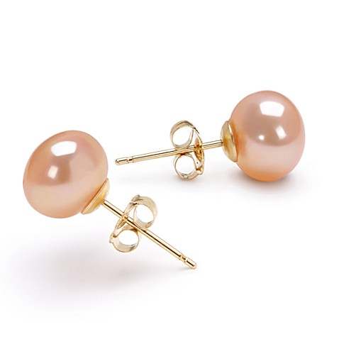 14K Yellow Gold, Pink Freshwater AAA Button Pearl Earring Set