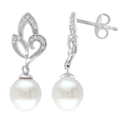 Sterling Silver .10 cttw Diamond and 8-8.5MM Pearl Earrings