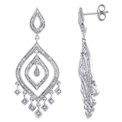 Sterling Silver 1/4 cttw Diamond Drop Dangle Pin Earrings