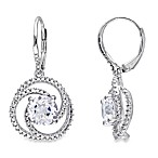 Sterling Silver Created White Sapphire w/.04 cttw Diamond Earrings