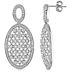 Sterling Silver .03 cttw Diamond/Created White Sapphire Earrings