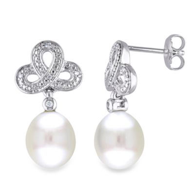 Sterling Silver .05 cttw Diamond/9-9.5MM White Pearl Pin Earrings