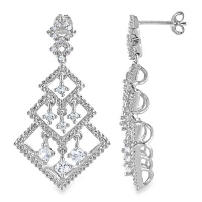 Sterling Silver cttw Diamond and White Sapphire Drop Dangle Earrings