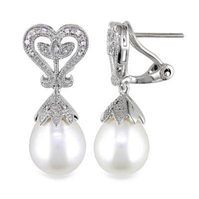 Sterling Silver .06 cttw Diamond/10-10.5MM Pearl Pin Earrings
