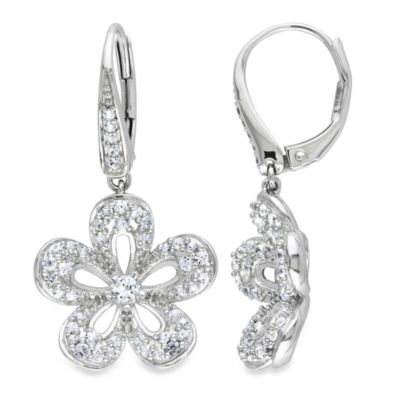 Sterling Silver Created Round White Sapphire Drop Dangle Earrings w/Lever Backs