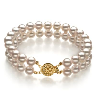 Japanese Akoya White 6.5-7.0MM Pearl Double Bracelet