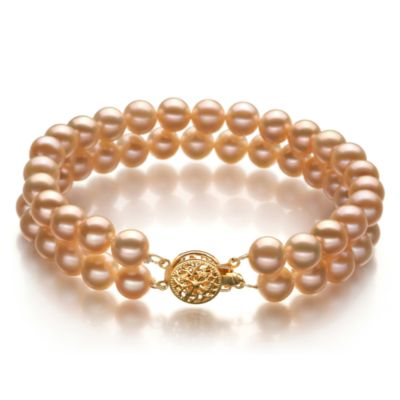 Freshwater Cultured 6.0-6.5MM Pearl Double Bracelet in Pink