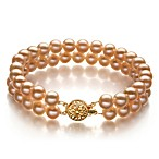 Freshwater AA 6.0-6.5MM Pearl Double Bracelet in Pink