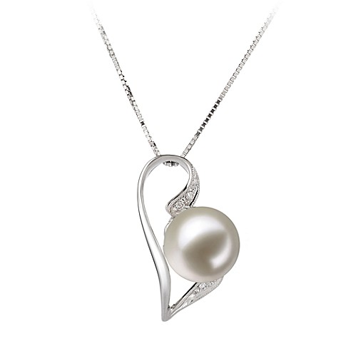14K White Gold FreshWater Cultured White Pearl/0.33 cttw Diamond Pendant