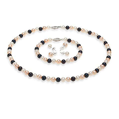 Multicolored FreshWater Cultured Pearl Set in 6.0-10.0mm