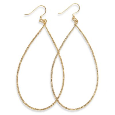 Charlene K 14K Gold Vermeil 3-Inch Machine Hammered Teardrop Earrings