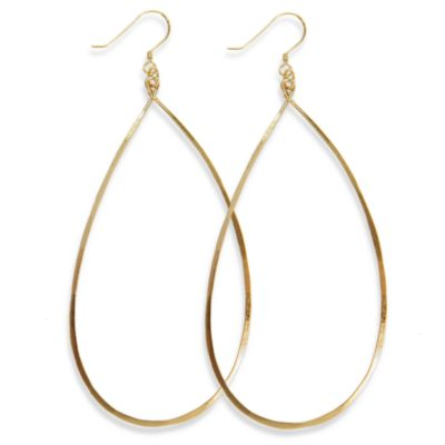 Charlene K 14K Gold Vermeil 3-Inch Hand-Hammered Teardrop Earrings