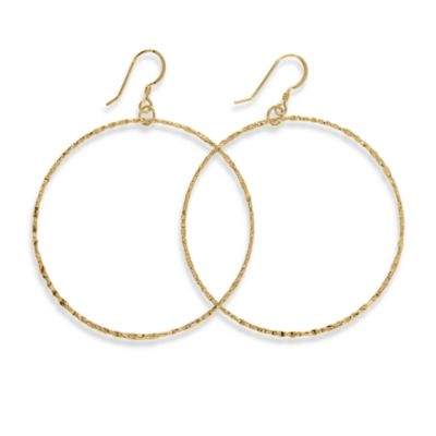 Charlene K 14K Gold Vermeil Machine Hammered 2-Inch Hoop Earrings