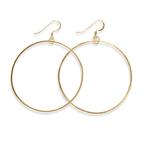 Charlene K 14K Gold Vermeil 2-Inch Hand-Hammered Hoop Earrings