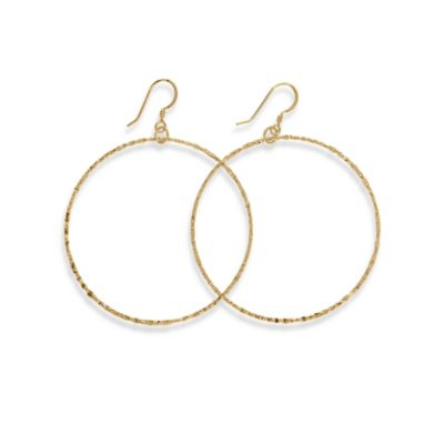 Charlene K 14K Gold Vermeil 1 1/2-Inch Machine-Hammered Hoop Earrings