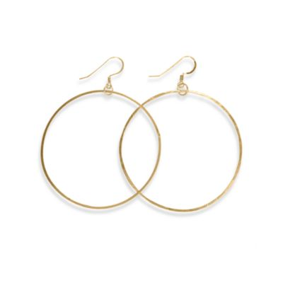Charlene K 14K Gold Vermeil 1 1/2-Inch Hand-Hammered Hoop Earrings