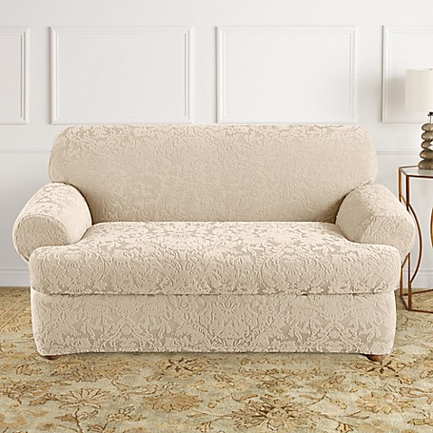 Sure Fit® Stretch Jacquard T-Cushion 2-Piece Loveseat Slipcover in Oyster