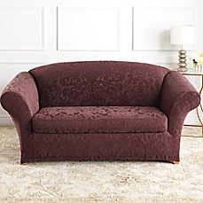 Sure Fit® Stretch Jacquard Damask 2-Piece Loveseat Slipcovers
