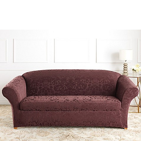 Sure Fit® Stretch Jacquard Damask 2-Piece Sofa Slipcover
