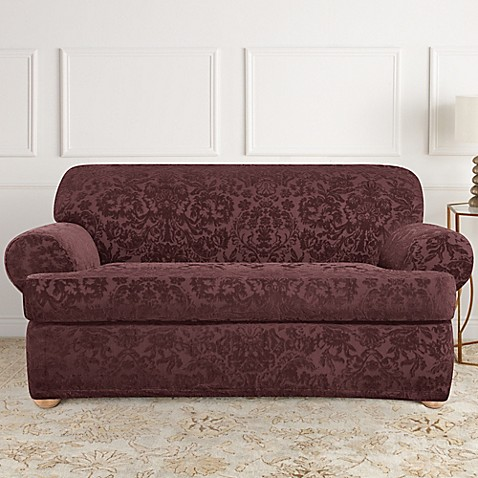Sure Fit Stretch Jacquard T Cushion 2 Piece Loveseat Slipcover Bed Bath Beyond